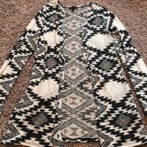 Black and white Aztec print cardigan